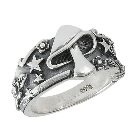 Mushroom Star Leaf Oxidized Ring Sterling Silver Celestial Weed Band Size - Celestial Ring