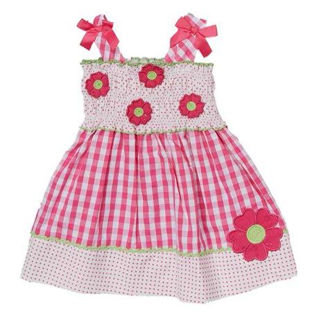 Nannette Infant Toddler Girls Pink Gingham Dress Sleeveless Flower Sundress ()