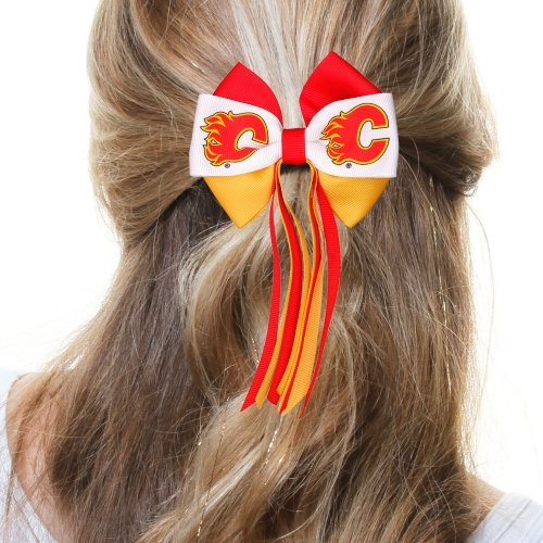 Calgary Flames Women's Mini Streamer Hair Bow - Red/Gold - No Size