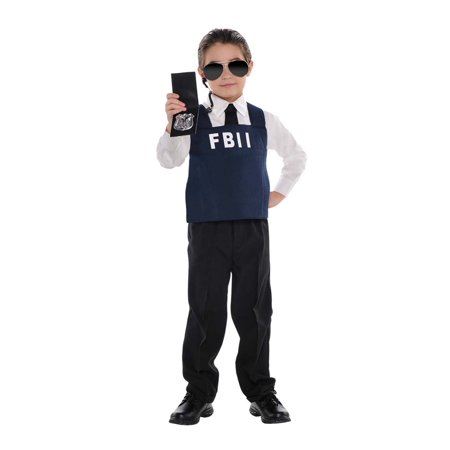 Boy Cop Costume (Fbi Agent Officer Boys Child Cop Halloween Costume Accessory)