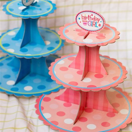3 Tier Card Paper Cupcake Stand Muffin Cake Holder Display Board Cardboard For Birthday Party 12