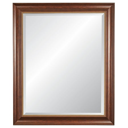 """Image of 30"""" x 36"""" Lorrain Cherrywood Finish Framed Beveled Glass Wall Mirror - Alpine Art and Mirror, Red"""