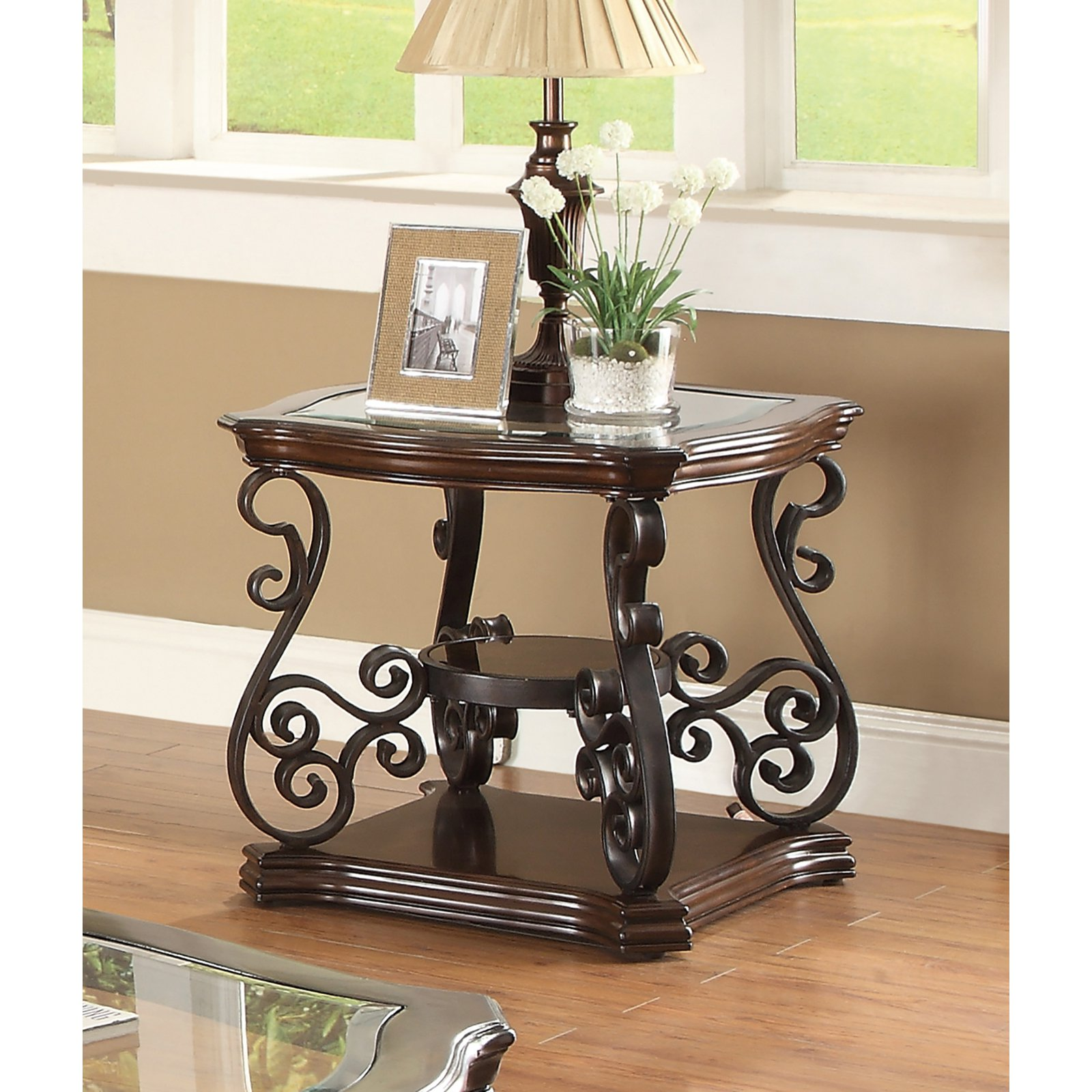 Coaster Furniture Glass Top End Table - Dark Brown