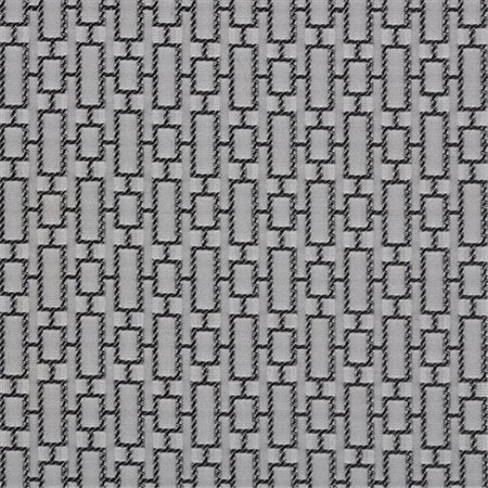 Designer Fabrics K0250B 54 in. Wide Black And Silver Connected Rectangles Silk Satin Upholstery