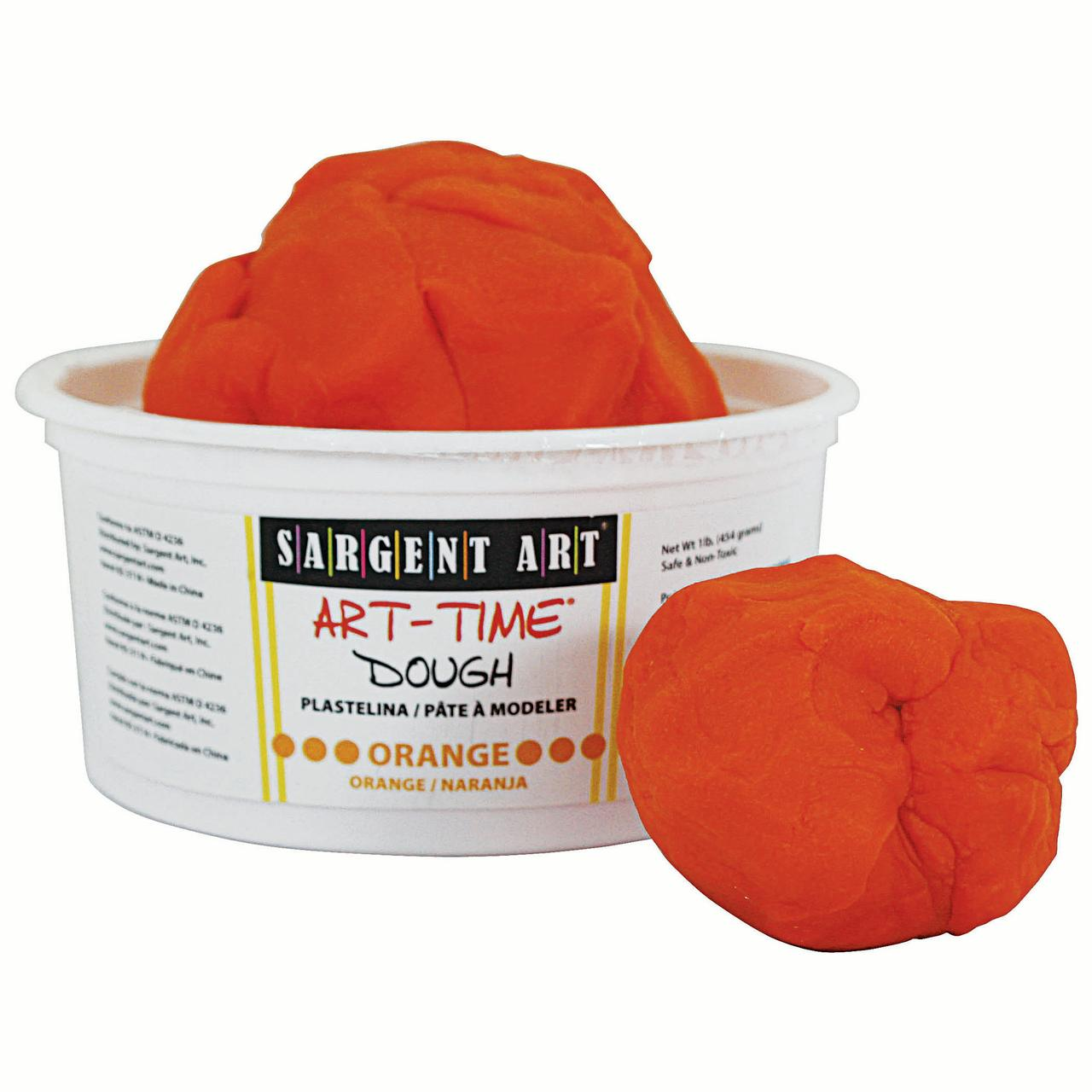 Art-Time® Dough, Orange, 1lb Tub, Pack of 6