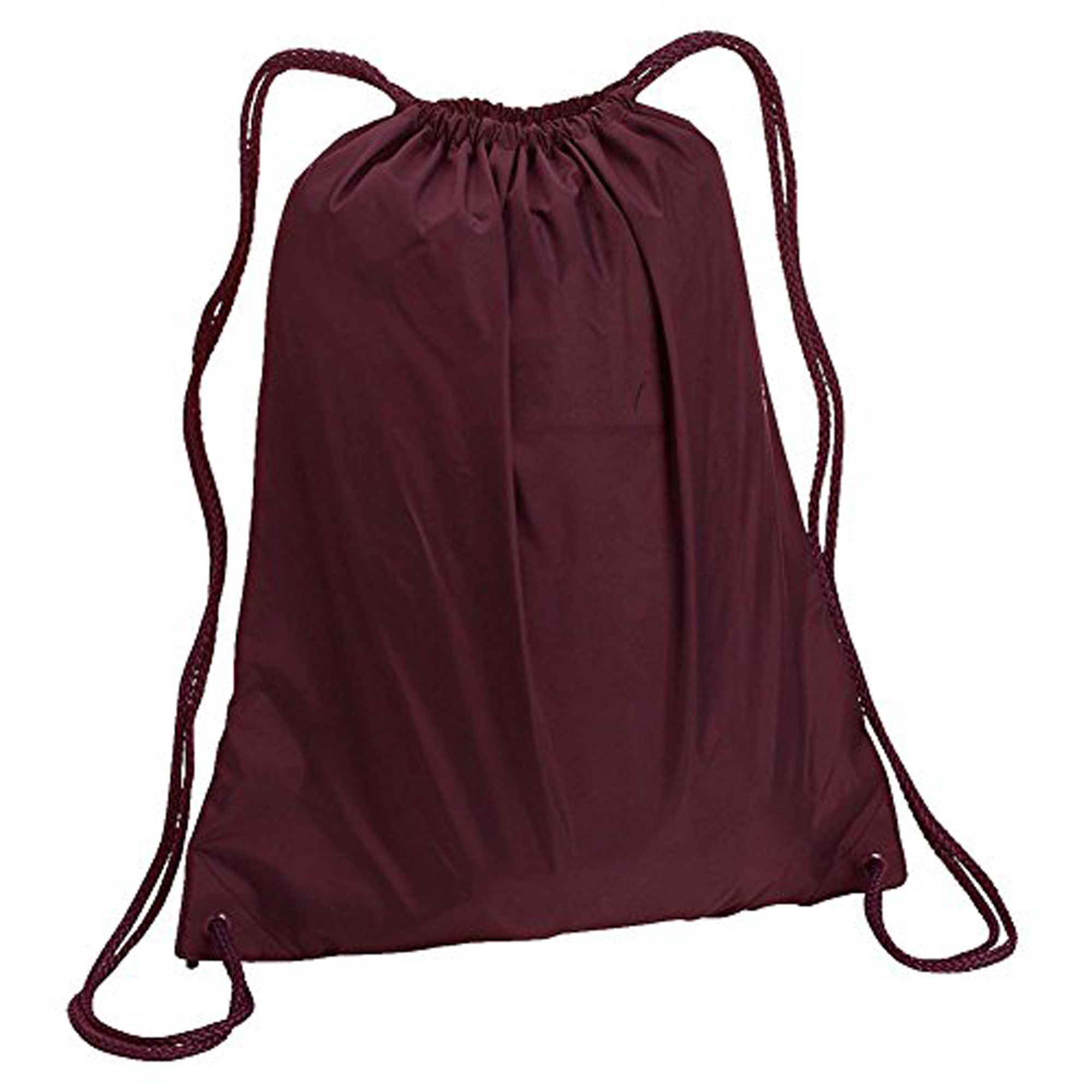 Burgundy Drawstring Cinch Sack Backpack School Tote Gym Sports Beach Travel Bag