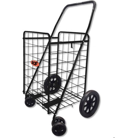 Scf Folding Shopping Cart Swivel Wheel Jumbo Black 360 Degree Easy Rotation With Free Cargo Net