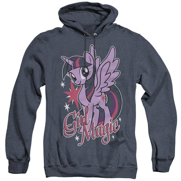 Trevco Sportswear HBRO147-AHH-4 My Little Pony TV & Girl Magic-Adult Heather Hoodie, Navy - Extra Large