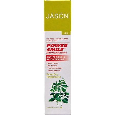 Powersmile Brightening - Jason Powersmile Enzyme Brightening Fluoride-Free Toothpaste, Peppermint, 4.2 Oz
