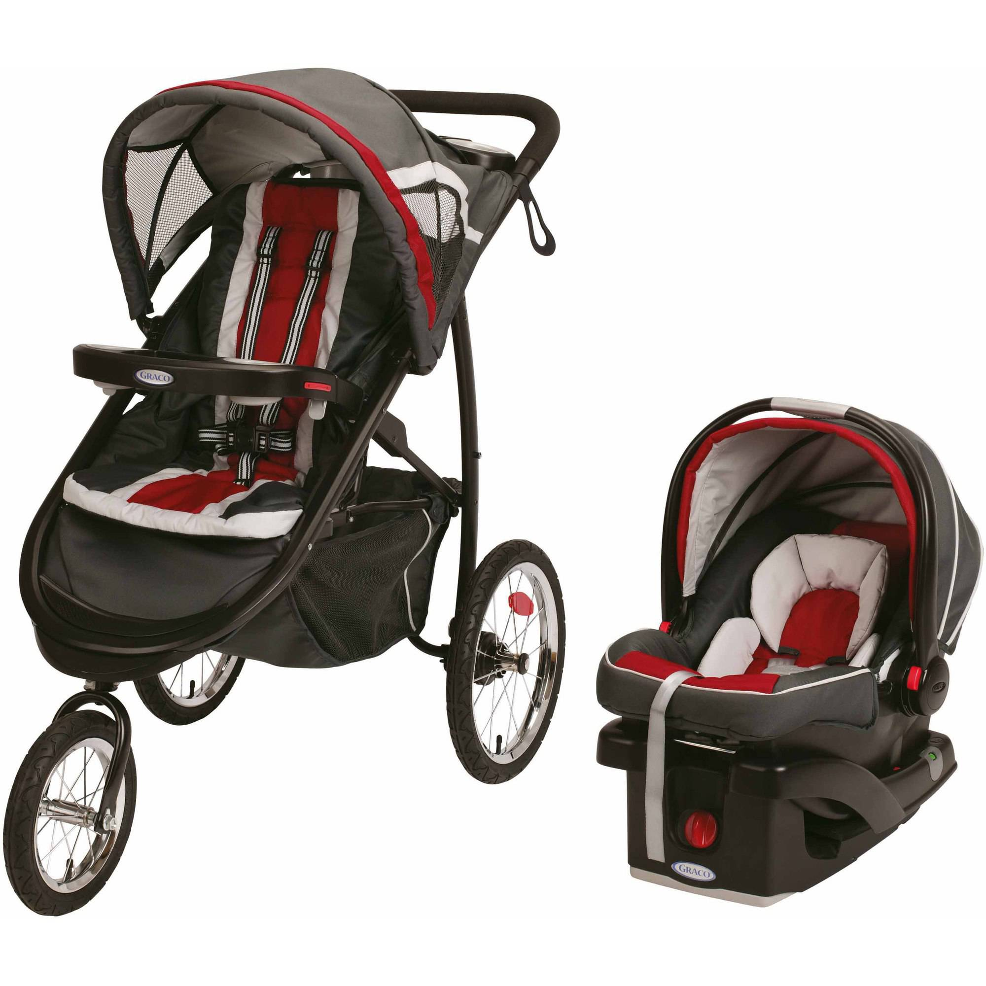 Graco FastAction Fold Jogger Click Connect Jogging Stroller Travel System, Chili Red
