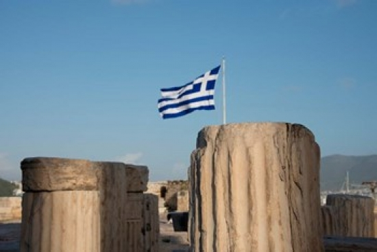 Greece Athens Acropolis Column ruins and Greek Flag Canvas Art Cindy Miller... by Supplier Generic