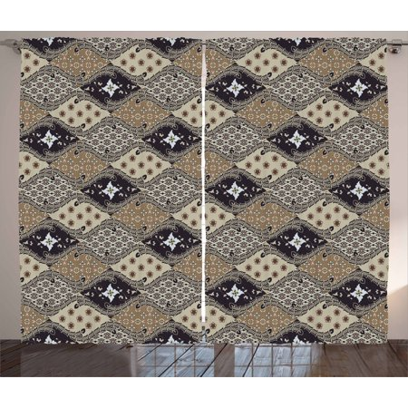 Asian Curtains 2 Panels Set, Indonesian Javanese Style Batik Pattern Wavy and Floral Design Old Fashioned Tile, Window Drapes for Living Room Bedroom, 108W X 63L Inches, Tan Black, by - Old Indonesia Batik