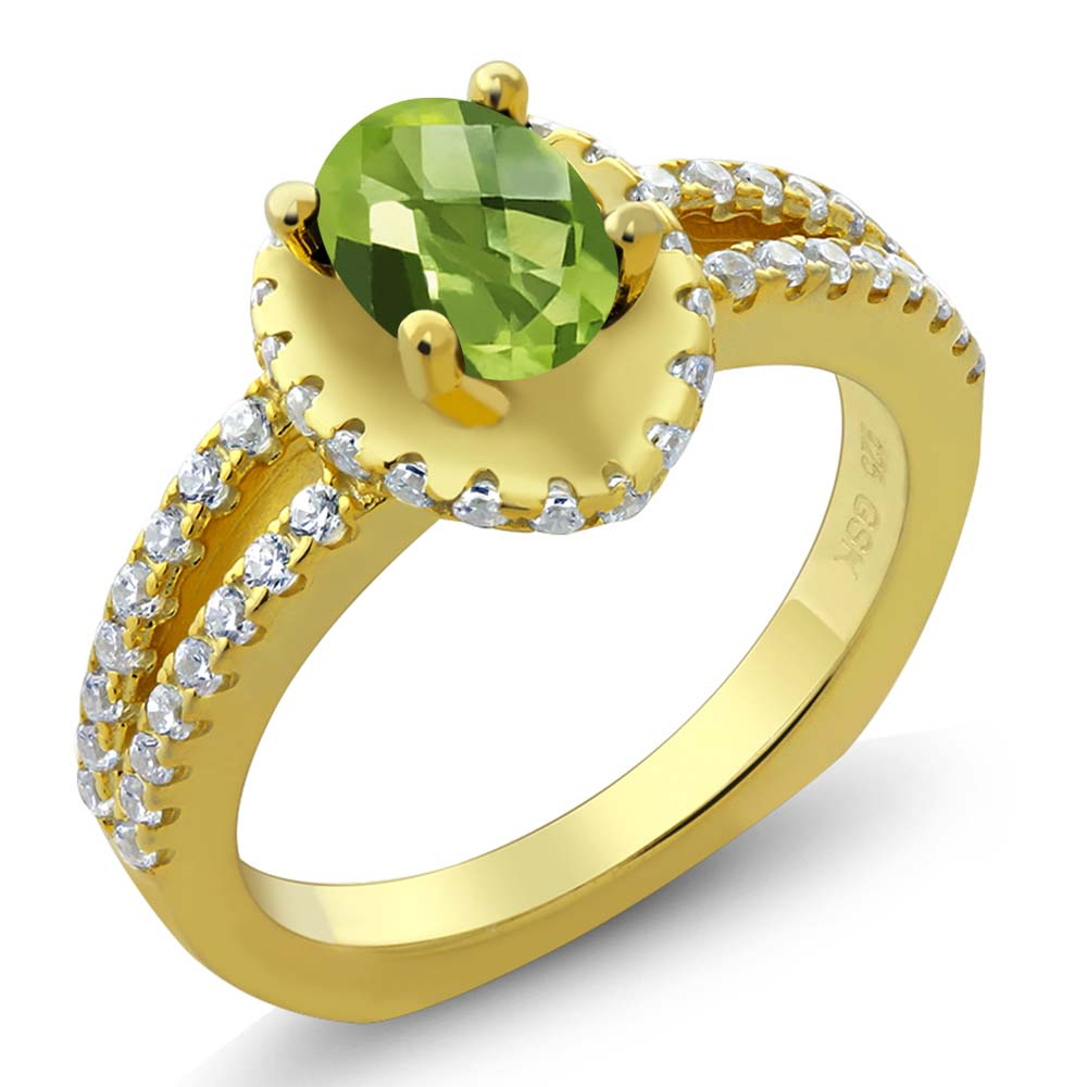 1.36 Ct Oval Checkerboard Green Peridot 18K Yellow Gold Plated Silver Ring
