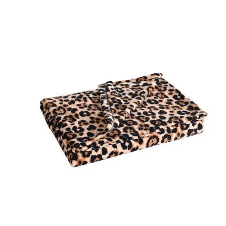 MarCielo Fleece Blanket, Super Soft Warm Fleece Throw Blanket Lightweight Blankets Couch Throw, Cozy Coral Throw Bed Blanket, 50 x 60 Inch Leopard