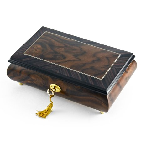 Elm Box (Modern 30 Note Toned Classic Matte Style Burl Elm with Rosewood Border Music Box - Four Seasons, Spring)