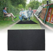Dilwe Grill Mat for Deck, Heat Resistant BBQ Gas Grill Splatter Mat Backyard Outdoor Gas Grill Floor Mat Protective Rug (48.81 x 29.53inch)