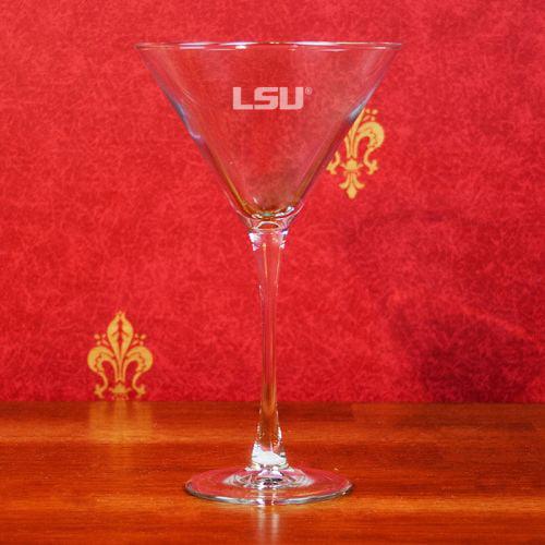 LSU Tigers Deep Etched Martini Glass