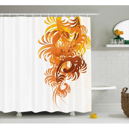 Floral Shower Curtain, Ornaments Flowers Waves Pattern Artistic ...