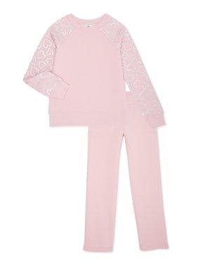 Athletic Works Girls 4-18 & Plus Core Fleece Foil Sleeve Sweatshirt and Sweatpants, 2-Piece Set