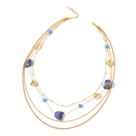 - Women's Lapis Lazuli Blue Glass Chroma Goldtone Chain Necklace Gift 23