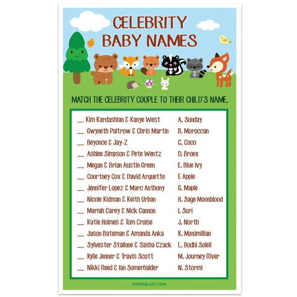 Woodland Creatures Forest Baby Shower Game - Celebrity Baby Names - Set of  30 - Walmart.com - Walmart.com