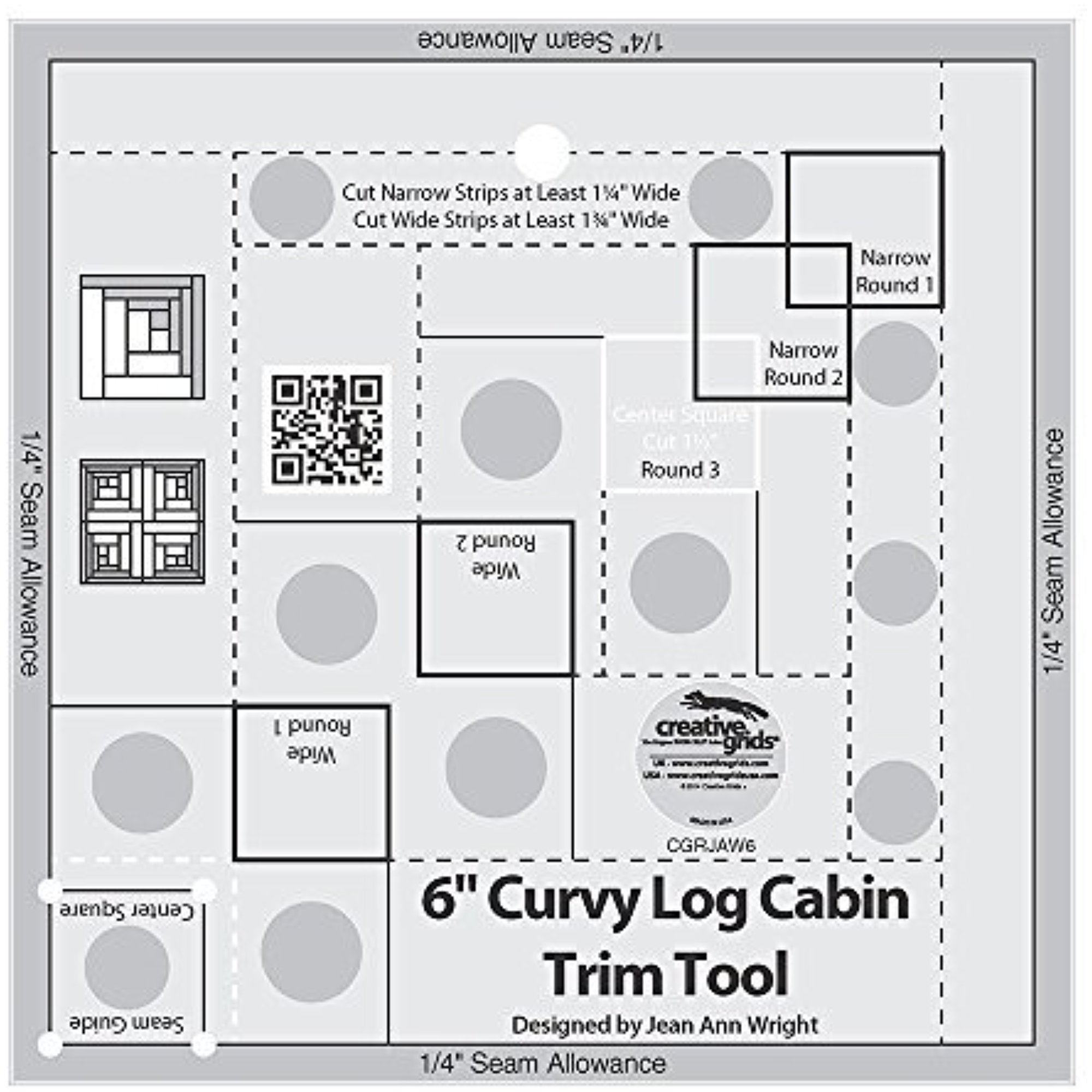 Creative Grids Curvy Log Cabin Trim Tool for 6 Finished Blocks Ruler