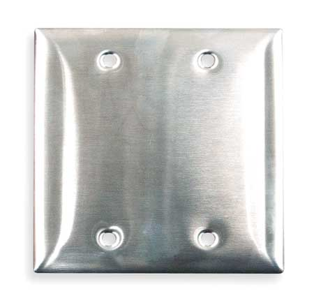 Blank Wall Plate,2 Gang,Silver HUBBELL WIRING DEVICE-KELLEMS SS23