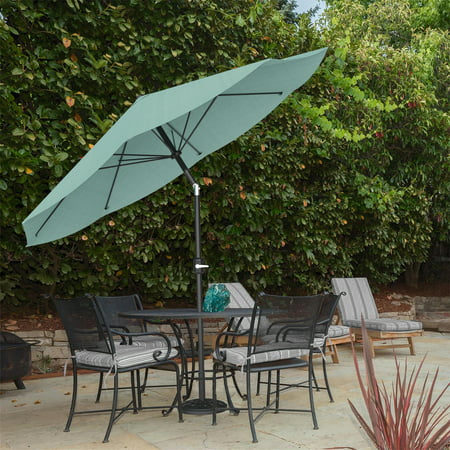 Image of Pure Garden Auto Tilt Patio Umbrella, 10 ft. Aluminum, Dusty green