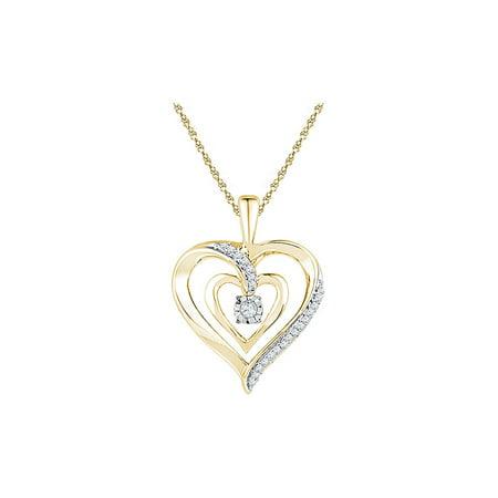 Diamond 10K Yellow Gold Sparkling Solitaire Heart Necklace Pendant 1/10 Ctw (Ctw Diamond Cross Pendant)