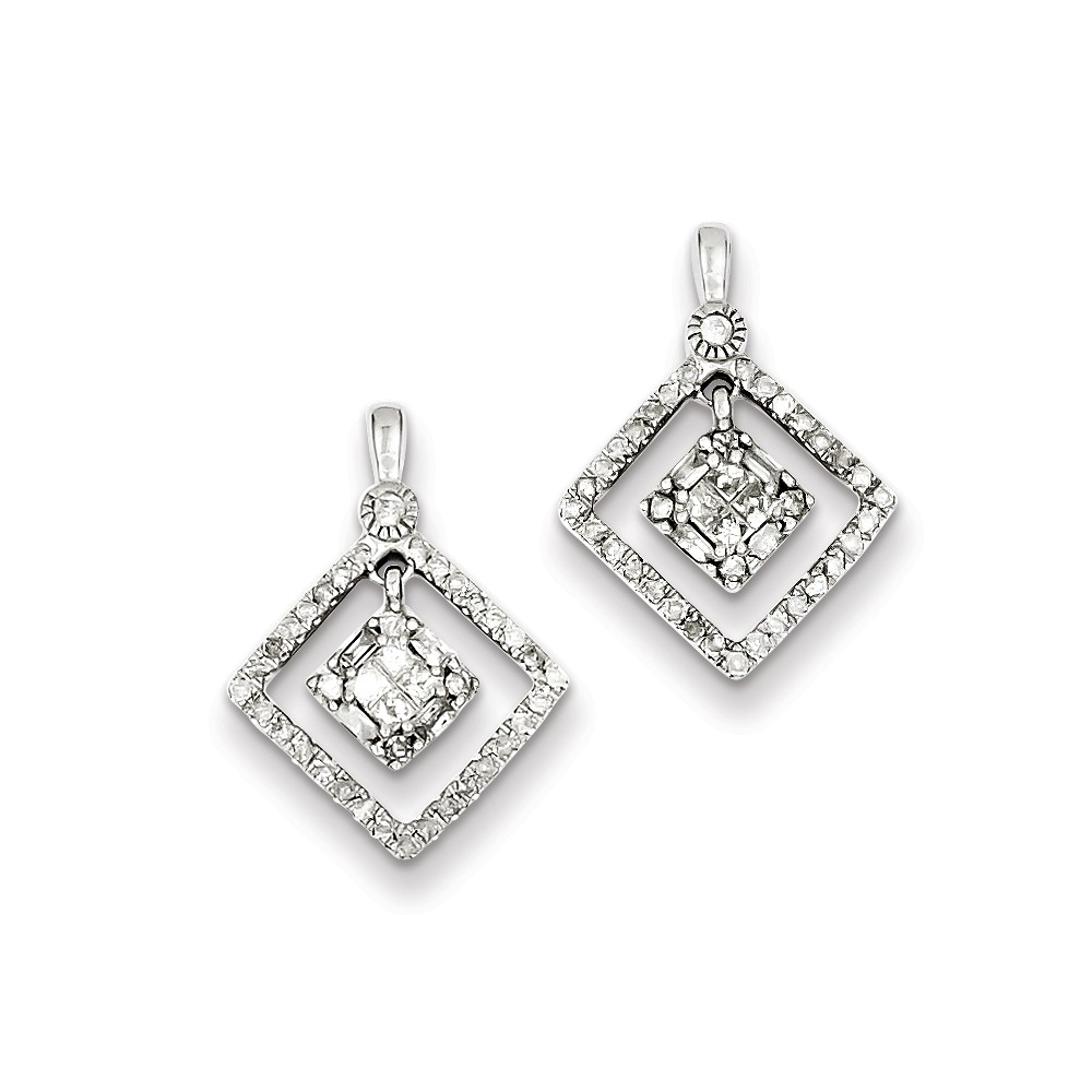 Sterling Silver Rhodium Plated Diamond Square Post Dangle Earrings (0.6IN x 0.5IN )