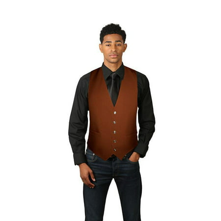 Men's Full Back Dress Vest Gold Mens Vest