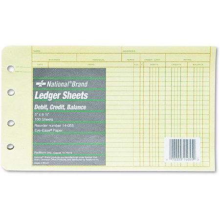 National Brand Extra Sheets For 4 Ring Ledger Binder  8 1 2 X 5 1 2  100 Pack
