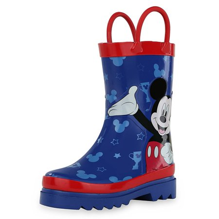 Disney Mickey Mouse Blue and Red Rain Boots (Toddler/Little