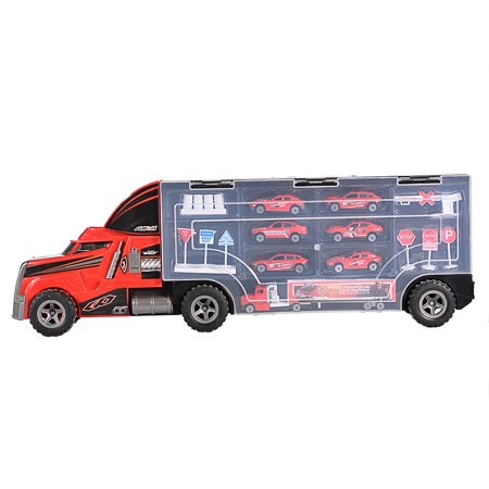 Container Truck with Fire Rescue Metal Cars Playset Vehicle