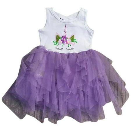 Toddler Girls Sleeveless Unicorn Tutu Tulle Birthday Party Flower Girl Dress Purple 2T XS (P501353P)