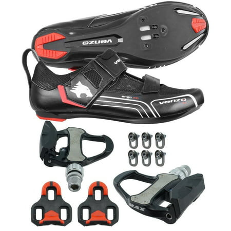 Venzo Bicycle Bike Cycling Triathlon Shoes For Shimano SPD SL Look with Pedals (Triathlon Neoprenanzüge)