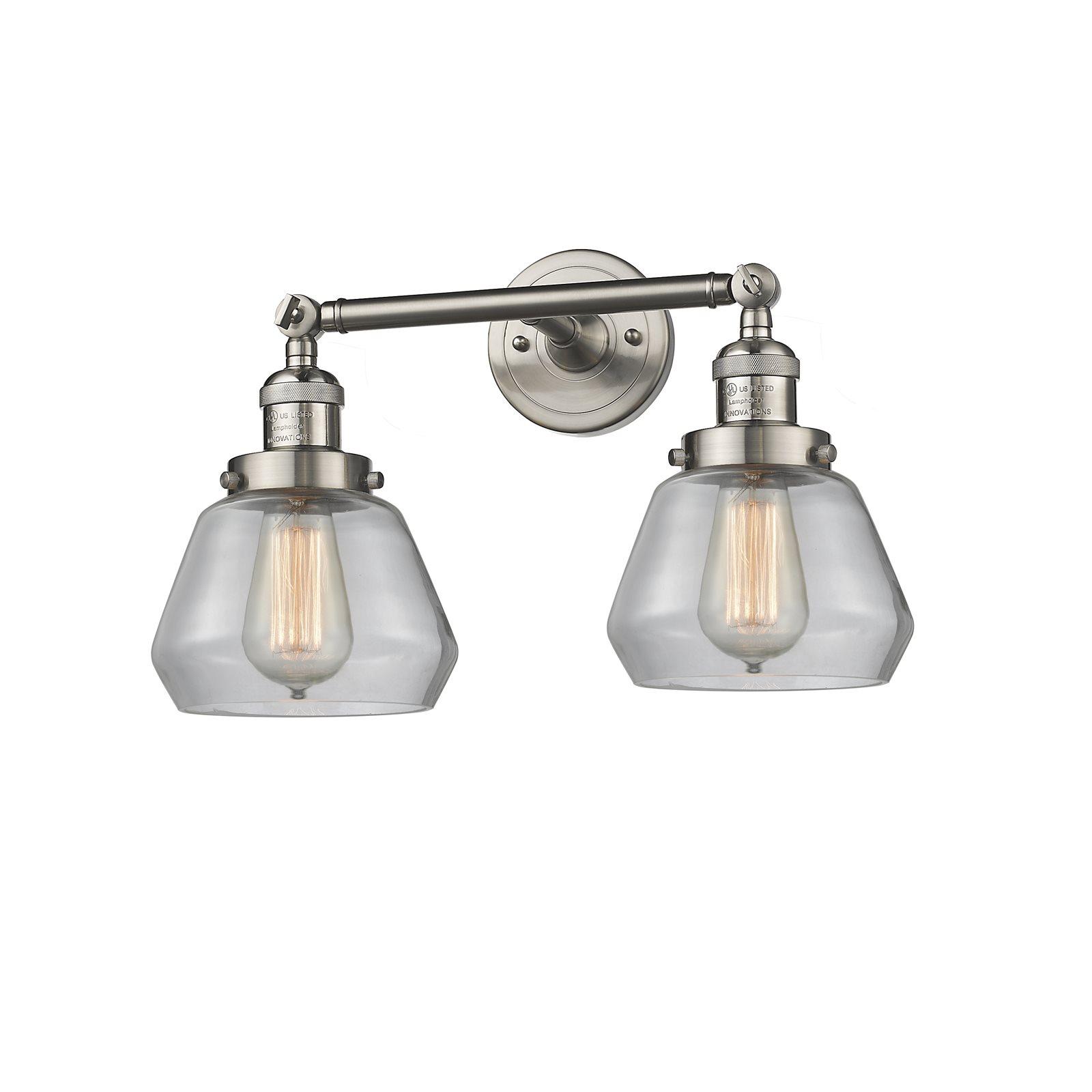 "Innovations 2-LT LED Fulton 16.5"" Bathroom Fixture Brushed Satin Nickel 208-SN-G172-LED by"