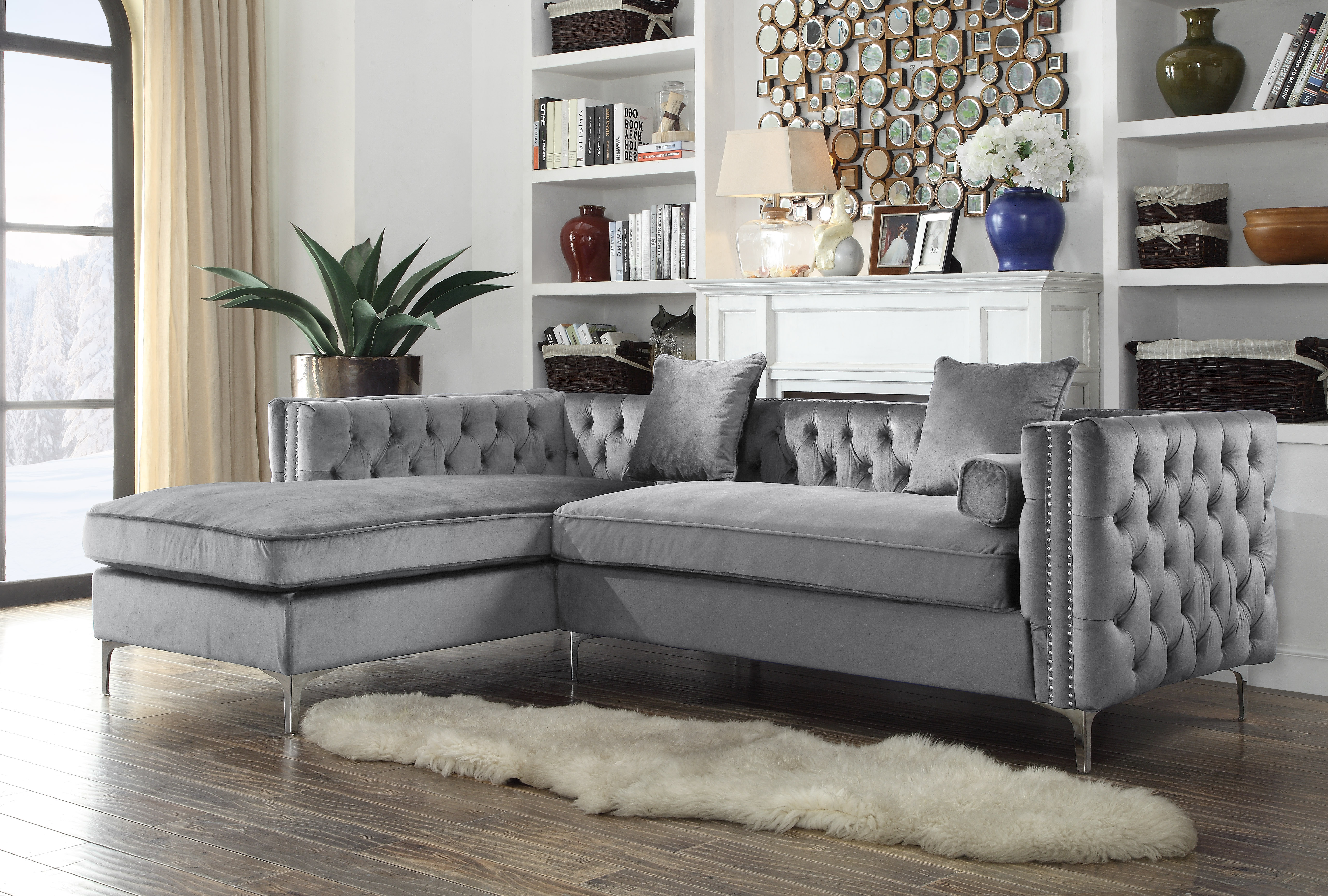 Chic Home Monet Velvet Modern Button Tufted Sectional Sofa With Silver Nailhead  Trim And Silvertone Metal