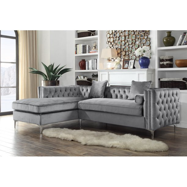Chic Home Monet Velvet Modern Button Tufted Sectional Sofa With Silver Nailhead Trim And Silvertone Metal Legs Multiple Colors Walmart Com Walmart Com