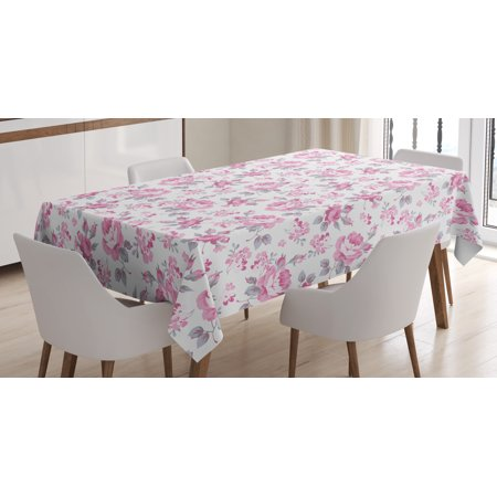 Shabby Chic Decor Tablecloth, Pink Roses with Grey Leaves Bedding Plants Spring Blossoms, Rectangular Table Cover for Dining Room Kitchen, 60 X 90 Inches, Light Pink White Grey, by Ambesonne