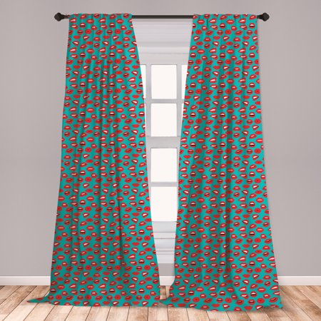 Kiss Curtains 2 Panels Set, Retro Woman Mouth Red Lipstick Girl Expressing Different Emotions Female Vintage, Window Drapes for Living Room Bedroom, Teal Red White, by Ambesonne ()