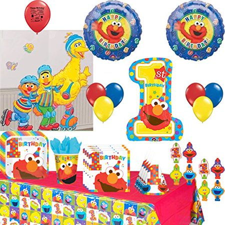 Sesame Street Party Supplies Elmo, Big Bird. Cookie Monster Birthday Tableware and Balloon Decoration Kit - Monster High Birthday Theme