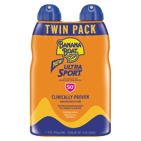 Banana Boat Ultra Sport Clear Sunscreen Spray SPF 50+, 12 Oz Twin Pack, Packaging May Vary