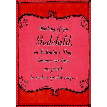 Designer Greetings Deep Red Frame: Godchild Valentine's Day Card (Valentines Day Frames)