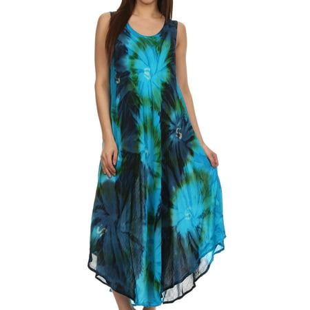 Sakkas Starlight Caftan Tank Dress / Cover Up - Turquoise / Blue - One Size (60 Dress Up)