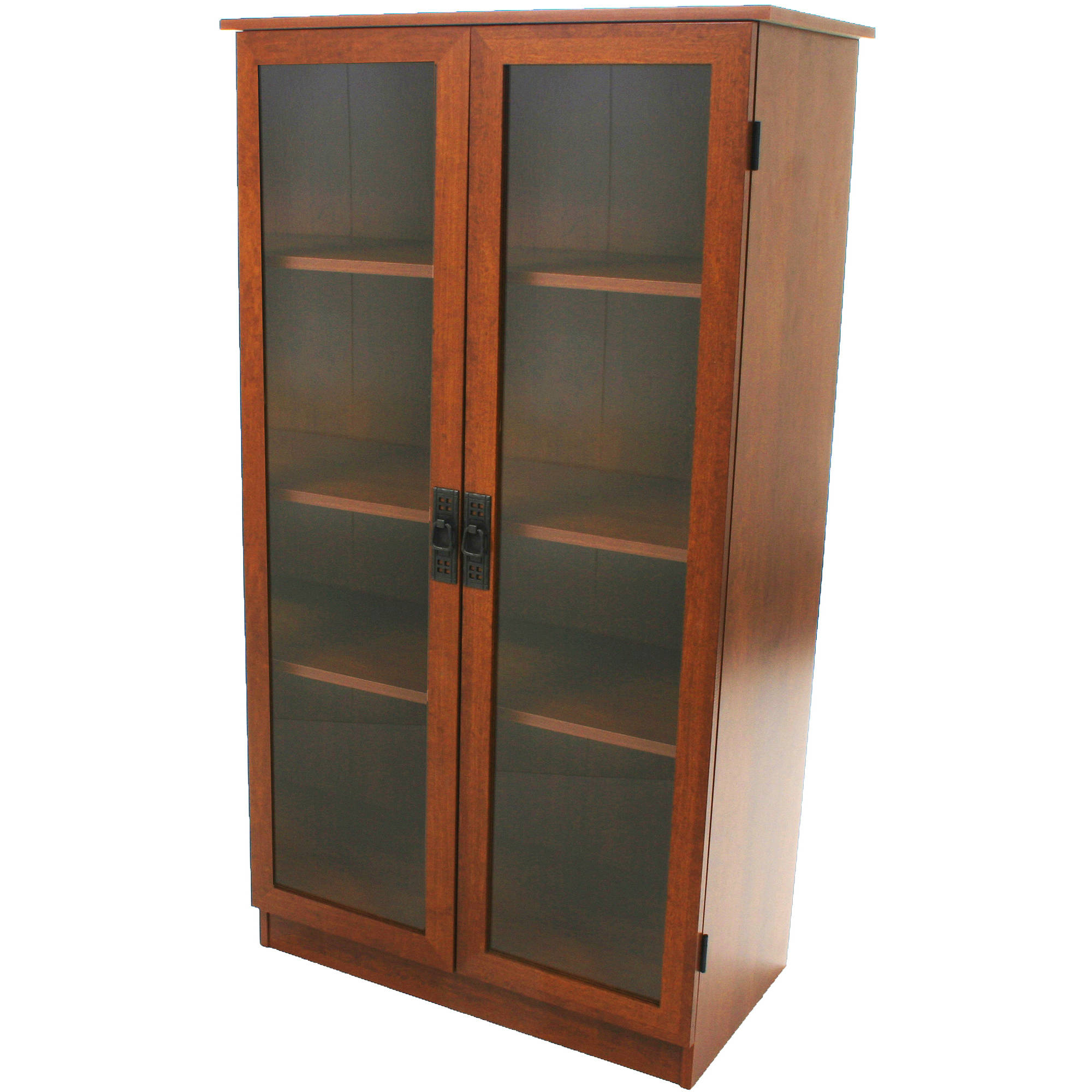Details About Bookcase Storage Cabinet 4 Shelves 2 Glass Doors Bookshelf Brown Oak Finish Home