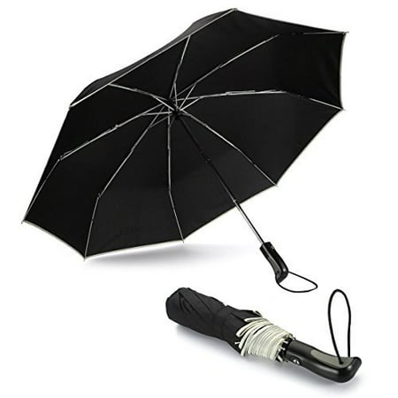 Tasbel Travel Umbrella Automatic Compact Umbrella with Durable Construction, Lightweight Umbrella Windproof and Portable with Black - Lightweight Handle