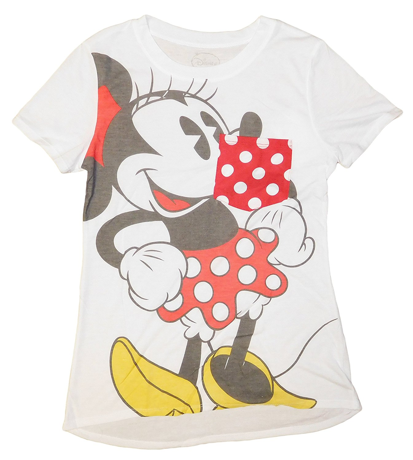Juniors Minnie Mouse Pocket Tee Shirt   (SMALL)    W48