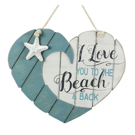 Love You to the Beach and Back Heart Shaped Wood Wall Plaque 16 Inches (Heart Shaped Plaque)