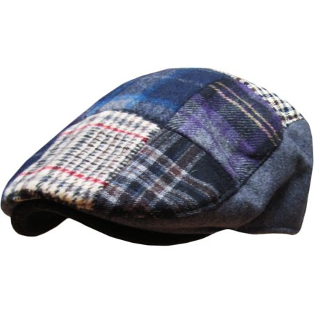 Wool V-neck Golf - Gray Multi Patch Plaid Wool Blend Newsboy Gatsby Ivy Hat Golf Driver Ascot